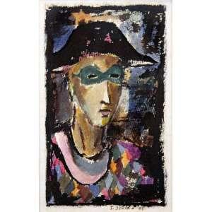 Ivan Serpa<br />Pierrot. Aquarela e nanquim sobre cartão, 20x13 cm, 1948, A.C.I.D.