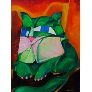 Aldemir Martins<br />Gato verde. Acrílica sobre tela, 81x60 cm, 1978, A.C.I.D.
