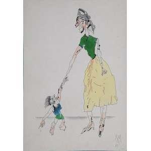 ROBERTO MAGALHÃES - Mãe e filho - desenho a nanquim aquarelado - 34 x 24 cm - a.c.i.d. 1983