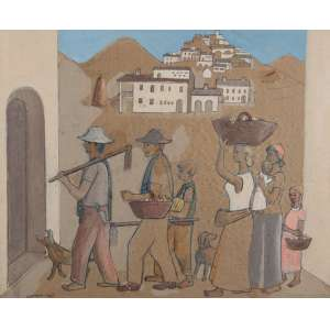 PENNACCHI, Fulvio - Volta da colheita - técnica mista - 46 x 56 cm - a.c.i.e. 1977