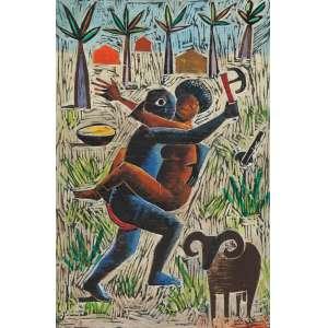 CARYBÉ, Hector - Rapto de Oxum por Xangô - matriz de xilo gravura, óleo sobre madeira - 60 x 40 cm - a.c.i.d. 1980 - Preso por um poderoso ebó que Oxum lhe fizera raptar a mulher de seu próprio irmão - com a imagem da xilogravura Oxum no verso, com assinatura em vermelho.