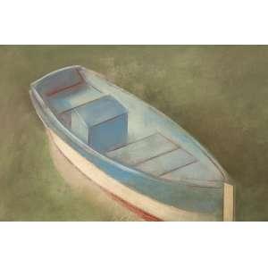 SCLIAR, Carlos - Barco azul - vinil encerado sobre tela - 37 x 56 cm - a.c.i.e. 1977 - Cabo Frio - RJ