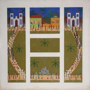 RODOLPHO TAMAMINE NETO - Painel com 5 trabalhos - óleo sobre tela - 108 x 106 cm - todos assinados 1972