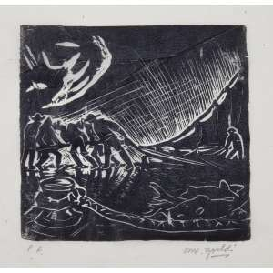 GOELDI, Oswaldo - Pescadores - xilogravura P/A - 13 x 13 cm - a.c.i.d. - sem moldura