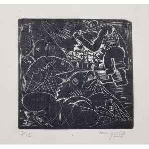 GOELDI, Oswaldo - Pescadores - xilogravura 1/12 - 13 x 13 cm - a.c.i.d. - sem moldura