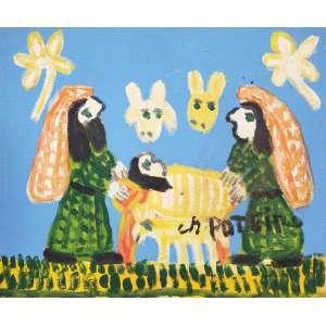 POTEIRO, antonio - Presépio - óleo sobre tela - 25 x 30 cm - a.c.i.d. 2007 - obra pintada na comemoração de 81 anos do artista