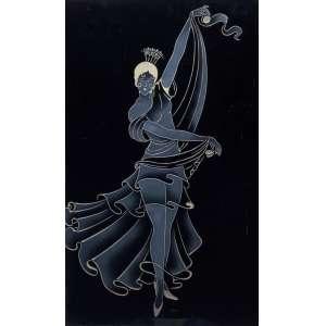 JOHN GRAZ Dançarina Vidro em relevo - 74 x 45 cm - sem assinatura