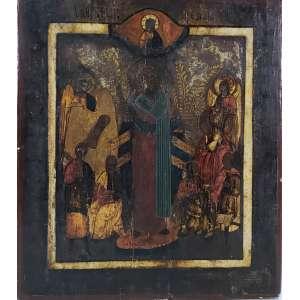 Bela Ícone em madeira pintada a mão - medidas, 35 x 30,5 cm - Rússia, séc. XIX