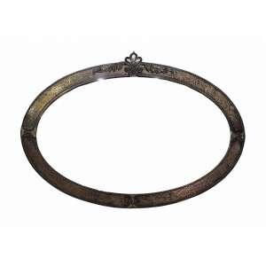 Espelho bisotado em moldura oval de metal - medidas, 81 x 57 cm - Brasil, séc. XX