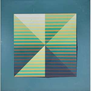 TOMAS ABAL - Papel bicolor - óleo sobre tela - 70 x 70 cm - a.n.v. déc 70 - Obs: No estado