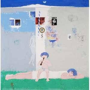 FLORIANO TEIXEIRA - Cultura, Ar cor luz e paz - óleo sobre tela - 55 x 55 cm - a.c.i.e. 1974 - com etiqueta da A GALERIA