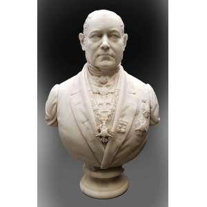FORMILLI,Camillo - Importante busto esculpido em mármore de Carrara representando nobre, assinado e datado 17/12/1861 ( Rio de Janeiro ). Acompanha pedestal – Itália, séc. XIX - busto: 77 cm de altura; Coluna: 110 cm