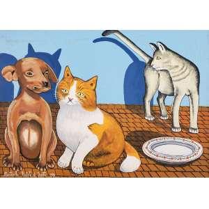 AGOSTINHO BATISTA DE FREITAS - Gatos e cachorro - óleo sobre tela - 50 x 70 cm - a.c.i.e. 1991.