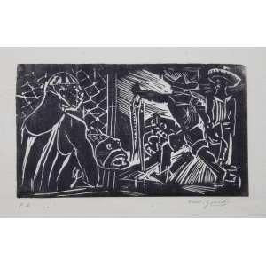 GOELDI, Oswaldo - Pescadores - xilogravura P/A - 12 x 21 cm - a.c.i.d. - sem moldura