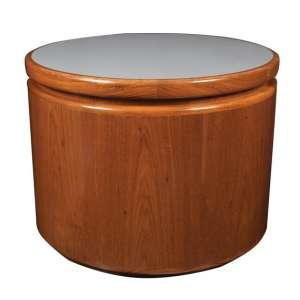 SERGIO RODRIGUES - feita sob encomenda - rara mesa circular de tampo giratório com o topo revestido em fórmica cinza - altura, 61 cm / diâmetro, 80,5 cm - Brasil, déc. 1970