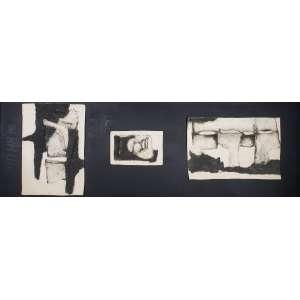 AUGSBURGER, Jean Edouard (1925-2008) - sem título - três gravuras em relevo assinadas, numeradas e datadas 1969 pelo artista - medidas: 59 x 39 cm , 22 x 34 cm e 39 x 59 cm, respectivamente - moldura caixa, 70 x 200 cm