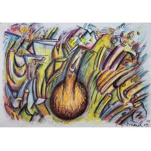 ANTONIO HENRIQUE AMARAL - Sem titulo - técnica mista sobre papel - 70 x 98 cm - a.c.i.d. 1980 - New York