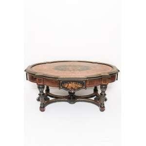 Elegante mesa de centro finamente marchetada - 50 x 122 x 86 cm - França, séc. XIX/XX