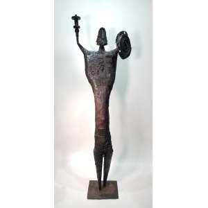 STOCKINGER, Francisco - Guerreiro - escultura em ferro e madeira - 160 cm de altura - assinada na base