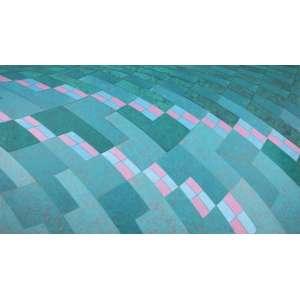 ALDIR MENDES DE SOUZA - Paisagem agrícola Nª 8 - acrílica sobre tela - 70 x 120 cm - assinado no verso 1986
