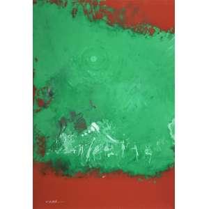 MABE, Manabu - Abstrato verde e vermelho - técnica mista sobre cartão - 51 x 36 cm - a.c.i.e.