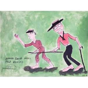 JOSÉ ANTONIO DA SILVA - Senhor Garvão puxado pelo menino - guache - 25 x 33 cm - a.c.i.e. 1970 - sem moldura