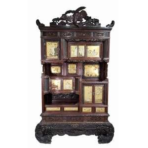 Importante armário ricamente trabalhado em marfim, laca e madrepérolas, SHIBAYAMA, MEIJI - medidas, 215 x 128 x 36 cm - Japão, C. 1888