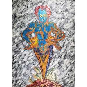 ALEX FLEMMING -A Cariátide - acrílica sobre tela - 190 x 140 cm - a.c.i.d. 1987