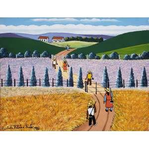 AGOSTINHO BATISTA DE FREITAS - Figuras no campo - óleo sobre tela - 30 x 40 cm - a.c.i.e. 1986