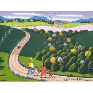 AGOSTINHO BATISTA DE FREITAS - Família no campo - óleo sobre tela - 30 x 40 cm - a.c.i.d. 1988 - No estado