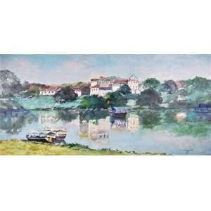 JENNER AUGUSTO - Paisagem do Dique, Bahia - óleo sobre tela - 50 x 100 cm - a.c.i.d 1985