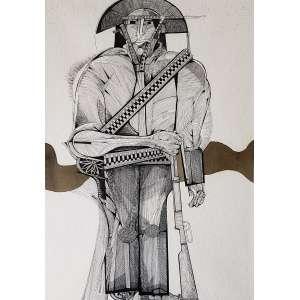 ALDEMIR MARTINS - Cangaceiro - desenho a nanquim - 73 x 51 cm - a.c.i.d. 1978