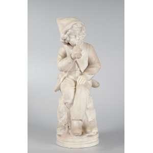 Graciosa escultura em mármore de Carrara representando jovem fumando cachimbo - 50 cm de altura - Europa,séc. XIX/XX