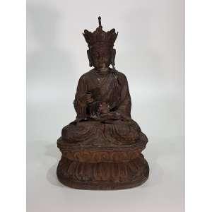 Escultura em bronze fundido, patinado e cinzelado com partes em douração representando Divindade Hindu - altura, 65 cm - China, séc. XX
