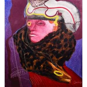 """Siron Franco<br>Madona com Peles – 90 x 80 cm – OST – Ass. CID e Dat. 1980<br /><br />Mestre da moderna geração de pintores brasileiros das décadas de 1970/1980, as """"Peles"""" de Siron<br />Franco se põem como superfícies de grande sensualidade. Ao mesmo tempo, traduzem uma denúncia<br />contra a matança e extinção de animais. Sobre Siron, escreveu Ferreira Gullar: """"...essa arte - nascida,<br />como toda arte verdadeira, da mais funda necessidade - traz Siron dos abismos em que a vida o mergulhara;<br />é no começo catarse pessoal, sobrevivência, e já agora instrumento também de denúncia e purgação<br />da sociedade: aproxima-se da charge, da caricatura, mas nada perde em magia e transfiguração.<br />Siron Franco não é apenas um artista de talento. É um acontecimento na pintura brasileira."""""""