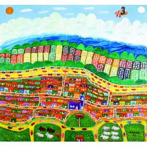 Cidade e Céu<br>180 x 170 cm - OST<br>Ass. CID e Dat. 1998<br>