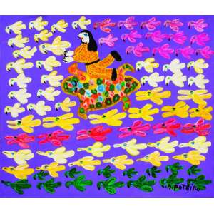 O Homem e os Pássaros<br>60 x 70 cm – OST<br>Ass. CID e Dat. 2005<br>Esse quadro deu<br>origem a uma série de<br>gravuras editadas pelo<br>artista<br>