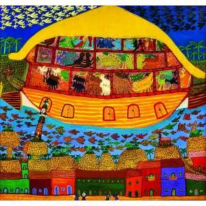 A Arca de Noé I<br>180 x 170 cm - OST<br>Ass. CID e<br>Dat. 1980/81<br>