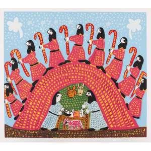 Antônio Poteiro<br>Nascimento de Jesus –72 x 80 cm <br>Gravura – Ass. CID – Sem Moldura