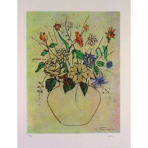 Cândido Portinari<br>Vaso de Flores – 70 x50 cm - Gravura <br>Ass. CID – Sem Moldura