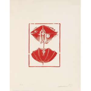 Alexandre Rapoport<br>Guarda-chuva – 50 x40 cm – Gravura <br>Ass. CID e Dat. 1971 – Sem Moldura