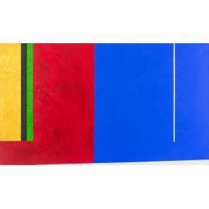 Eduardo Sued<br>Homenagem a Mondrian – 100 x 170 cm <br> OST – Ass. Verso e Dat. 2015<br> Apresenta certificado de autenticidade emitido pelo artista<br>Afasta-se de um projeto racionalista puro para se aproximar cada vez mais de um exercício empírico onde ocorrem surpresas como elementos recortados, máscaras e materiais estranhos que vêm aos poucos se incorporar à pintura. Agora, os elementos que se agregam à tela chegam a um certo brutalismo. Trata-se de uma corajosa violência simbólica praticada pela linguagem dessa pintura. Primeiro, com relação à sua própria história que não cessa de questionar. E esse questionamento não se dá através de indagações evasivas, de uma interrogação pelas bordas, mas de um confronto, às vezes brutal, consigo mesma, como se estivesse sempre se perguntando sobre os próprios limites. Segundo, assinala e delimita um campo de tensão no interior da própria pintura contemporânea e suas relações com a história da arte moderna. (...) <br>Obras como as de Eduardo Sued são a própria evidência poética de como funciona o tempo da cultura moderna. A noção complexa de história que está embutida na obra, vê o tempo muito mais como o corte geológico das camadas que se acumulam, umas sobre as outras, apresentando cada uma suas próprias características e sucessivas descontinuidades em relação às outras. Seu vigor e poder poéticos, residem, sem dúvida, nessa capacidade de captar as características do tempo moderno e incorpora-las como o próprio método da pintura. Quanto mais avança na busca de seus próprios limites, mais ela mobiliza visualmente os elementos históricos de seu passado.<br> Paulo Sergio Duarte é crítico de arte, professor de história da arte e pesquisador.<br> Leciona Teoria e História da Arte na Escola de Artes Visuais do Rio de Janeiro – Parque Lage. Este trecho foi extraído da seguinte fonte: DUARTE, Paulo Sergio. Cores como vetores de força. In: SUED, Eduardo. Eduardo Sued. São Paulo: Galeria de Arte São Paulo, 1999. p. 6-7.