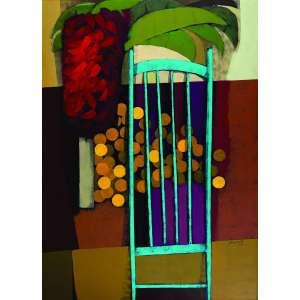 Glênio Bianchetti<br>Cadeira com Flores – 220 x 160 cm <br> OSTSM – Ass. CID e Dat. 1994