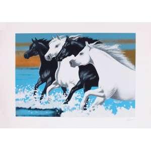 Lourenço - Cavalos – 70 x 100 cm – Gravura - Ass. CID e Dat. 1997 – Sem Moldura