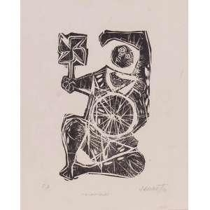 Alexandre Rapoport - O catavento – 39 x 31 cm – Xilogravura P. A. – Ass. CID e Dat. 1970 – Sem Moldura