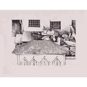 José Alberto Nemer - Telhado – 50 x 63 cm – Gravura – Ass. CID – Sem Moldura