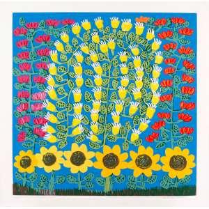 Antonio Poteiro - Flores com girassóis – 85 x 85 cm – Gravura – Ass. CID – Sem Moldura