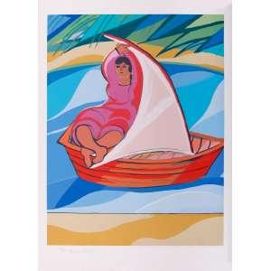 Cícero Dias - Mulher no barco – 76 x 57 cm – Gravura – Ass. CIE – Sem Moldura