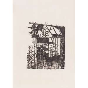 Shirley Paes Leme - Casebre – 48 x 33 cm – Xilogravura – Ass. CID e Dat. 1977 – Sem Moldura