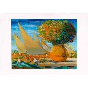Enrico Bianco - Marinha com flores – 50 x 72 cm – Gravura – Ass. CID – Sem Moldura